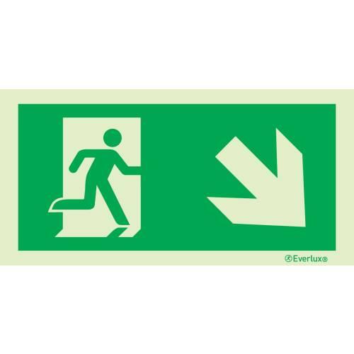 Rettungszeichen rechts abwärts