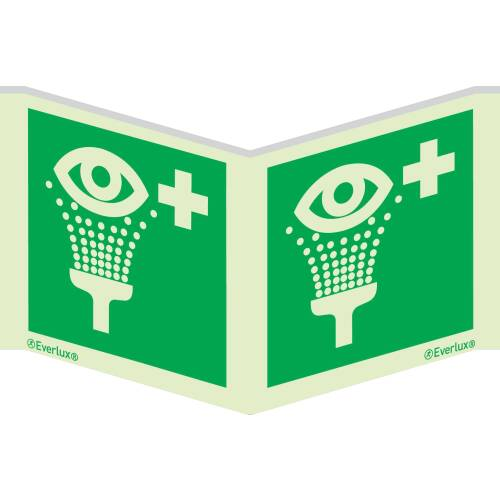 Winkelschild Augenspühleinrichtung - Symbole