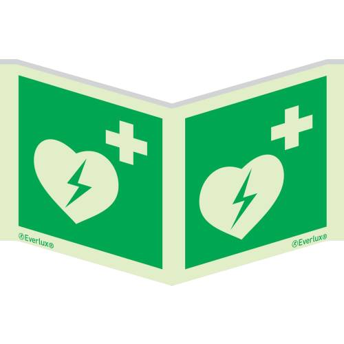 Rettungszeichen Symbole Winkelschild Defibrillator