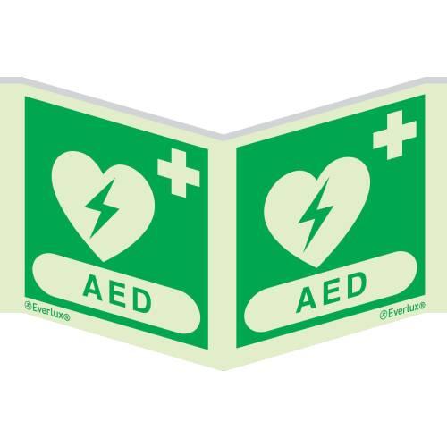 Winkelschild Defibrillator AED - Symbole