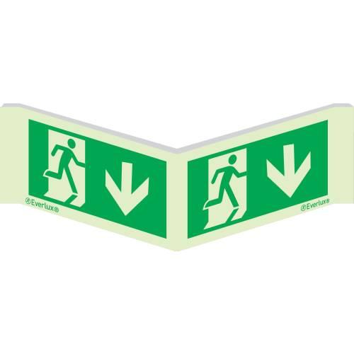 Winkelschild Etagenwechsel abwärts - Flucht- und Rettungszeichen