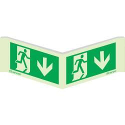 Winkelschild Etagenwechsel abwärts - Flucht- und...