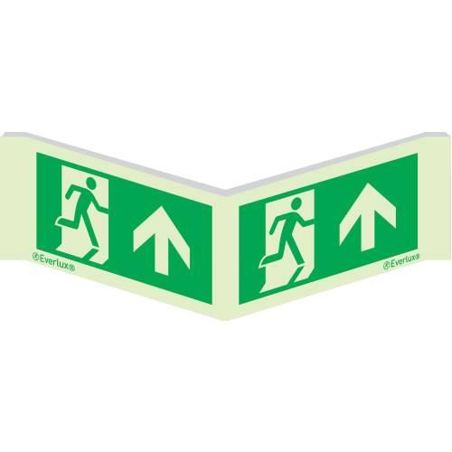 Winkelschild Laufrichtung geradeaus - Flucht- und Rettungszeichen