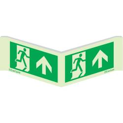 Winkelschild Laufrichtung geradeaus - Flucht- und...