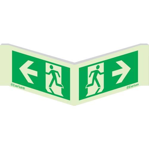 Winkelschild Laufrichtung links/rechts - Flucht- und Rettungszeichen