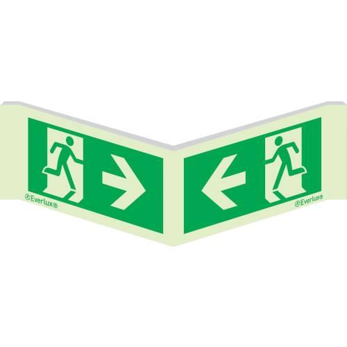 Winkelschild Laufrichtung gegenseitig - Flucht- und Rettungszeichen