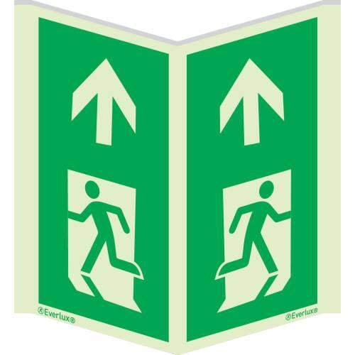 Winkelschild Laufrichtung geradeaus für Pfeiler - Flucht- und Rettungszeichen