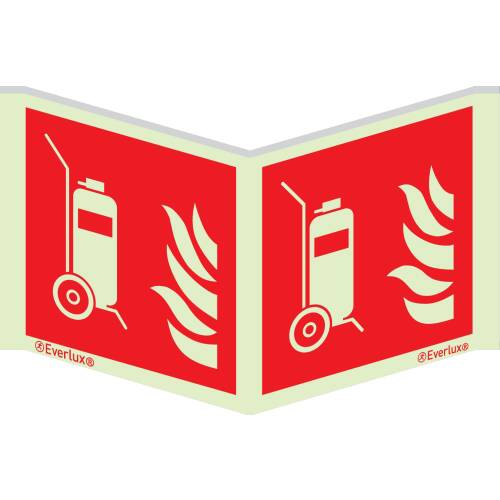 Winkelschild Fahrbare Feuerlöscher ISO 7010