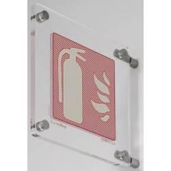 Brandschutzschild Feuerlöscher auf Acryl durchsichtig SN EN ISO 7010, 215mcd/m²