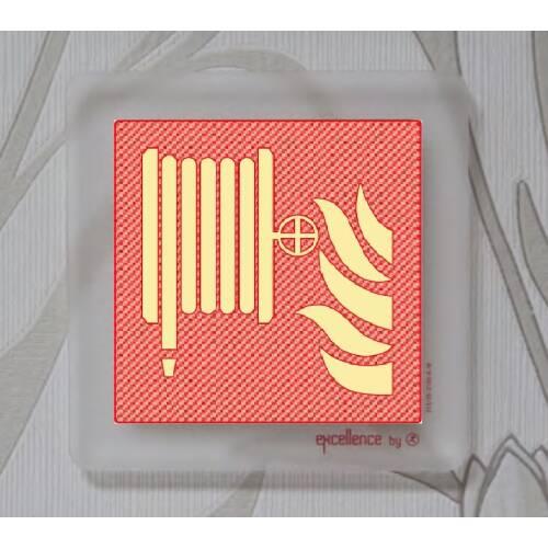 Brandschutzschild Löschschlauch auf Acryl durchsichtig SN EN ISO 7010, 215mcd/m²
