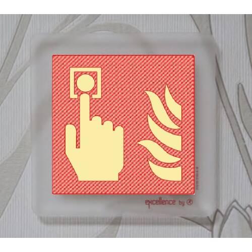 Brandschutzschild Handalarmtaster auf Acryl durchsichtig SN EN ISO 7010, 215mcd/m²