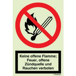 Verbotszeichen Feuer, offenes Licht und Rauchen verboten...