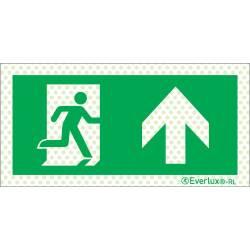 Reflektierende Flucht- und Rettungszeichen links aufwärts