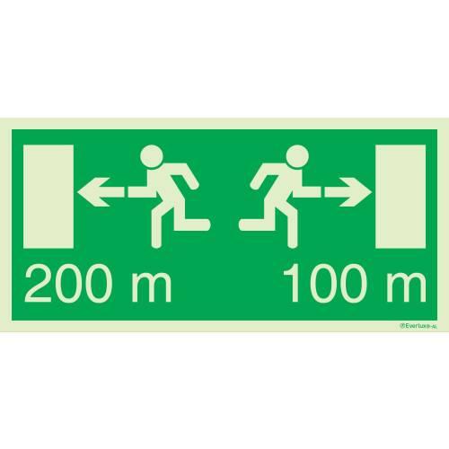 Flucht - und Rettungszeichen für Fluchtweg mit Distanzangabe