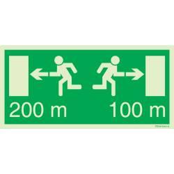 Flucht - und Rettungszeichen für Fluchtweg mit...