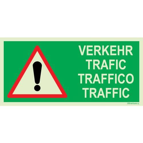 Flucht - und Rettungszeichen Achtung Verkehr