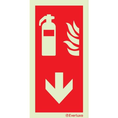 Brandschutzzeichen Feuerlöscher mit Pfeil