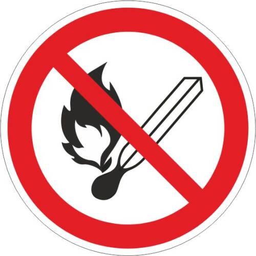 Verbotszeichen -Feuer, offenes Licht u. Rauchen verboten ISO 7010